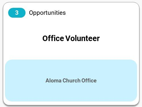 Aloma Office Volunteer